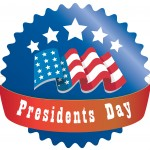 a red and blue round icon for presidents day