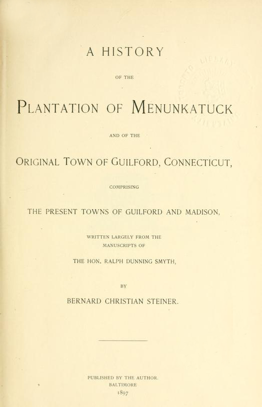 A History of the Plantation of Menunkatuck
