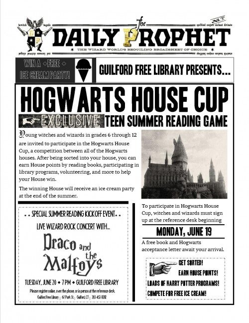 Hogwarts Summer Reading Flyer